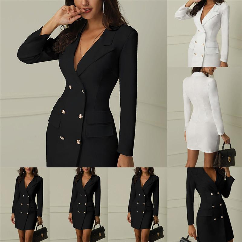 Slim Formal Outerwear Blazer Women Casual Double Breasted Pocket Women Long Jackets Elegant Long Sleeve Spring Autumn Suit