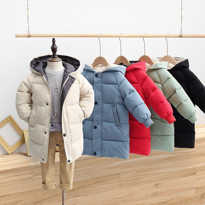 Kış Çocuk Mont Çocuk Erkek Ceketler Moda Kalın Uzun Mont Kızlar Kapşonlu Ceket Snowsuit 3-10Y Genç Çocuk Palto Parkas 733 Y2
