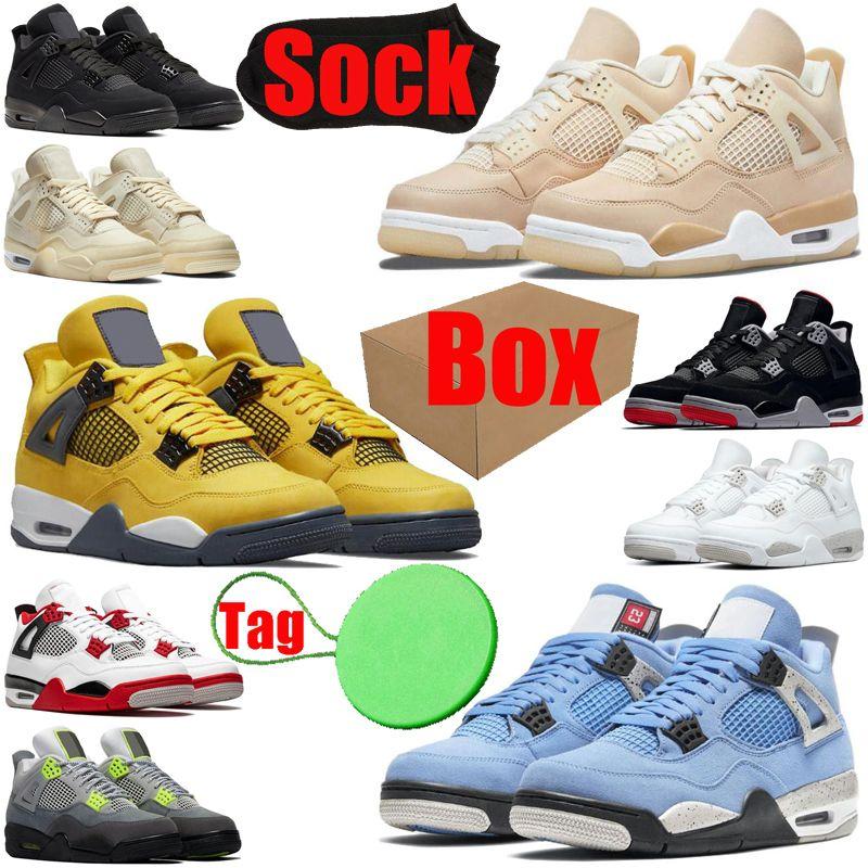 Avec BoxSockTag 4 4S Mens Basketball Chaussures Shimmer Lightning Cactus Jack Red Thunder Sail Université Bleu Black Cat Hommes Formateurs Sporteurs Sports