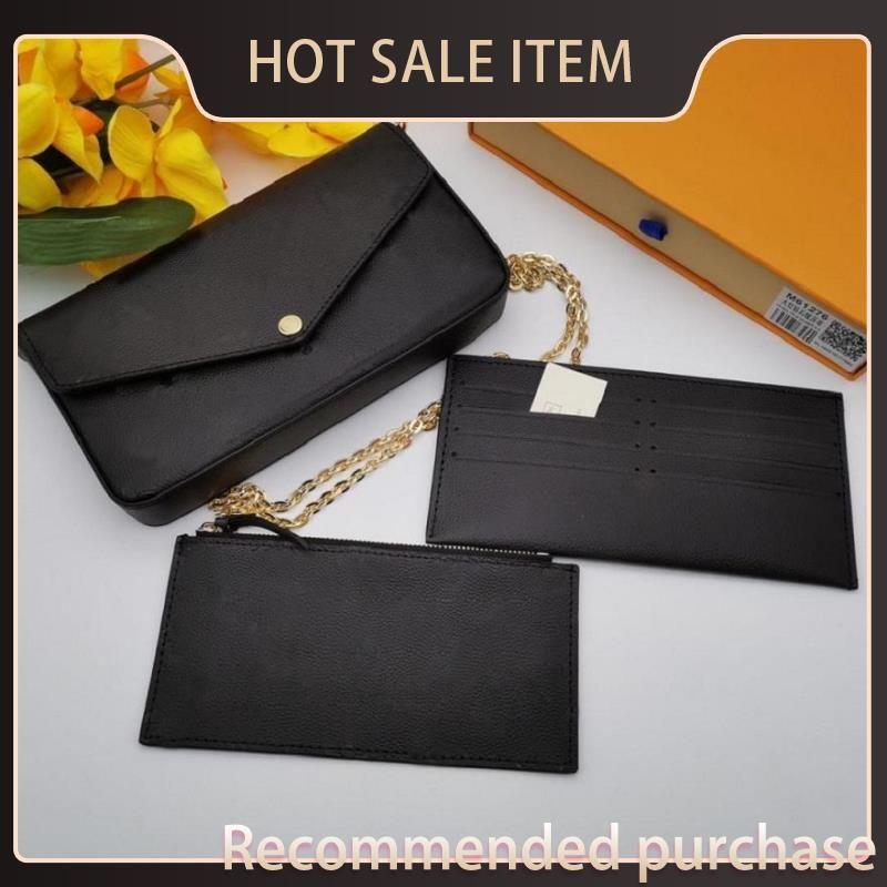 Hot Felicie Bag Luxus Geldbörse Pochette Clutch Designer Tote Leder Verkauf Taschen Schulter Handtasche Original Shopping Messenger Geldbörse mit Box Tira