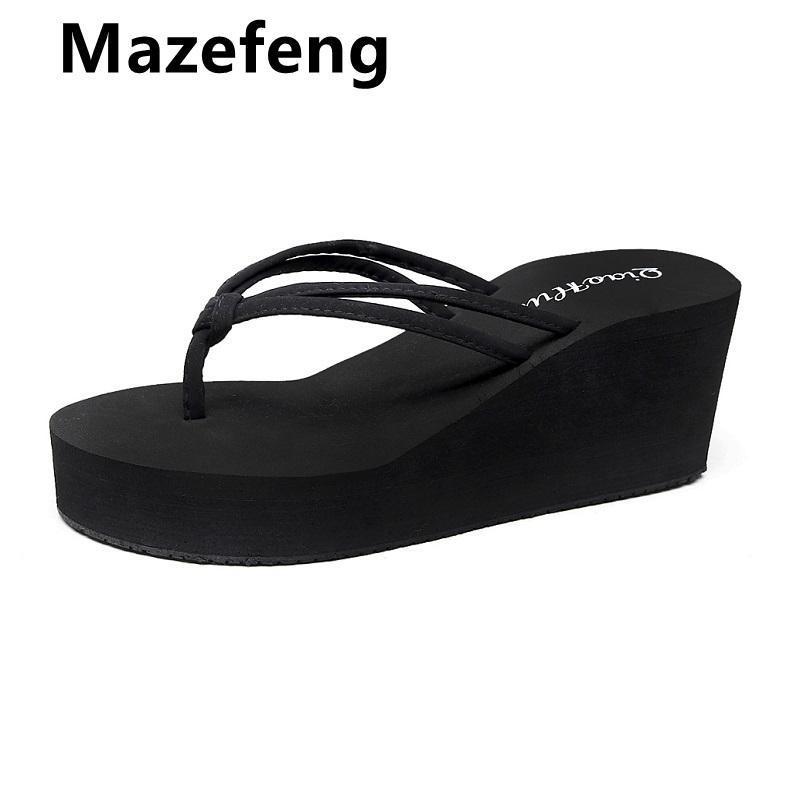 Mazefeng Summer Women Flip Flaks Casual Lentejuelas Antideslizantes Slippers Beach Sandalias planas Abrir zapatos para damas