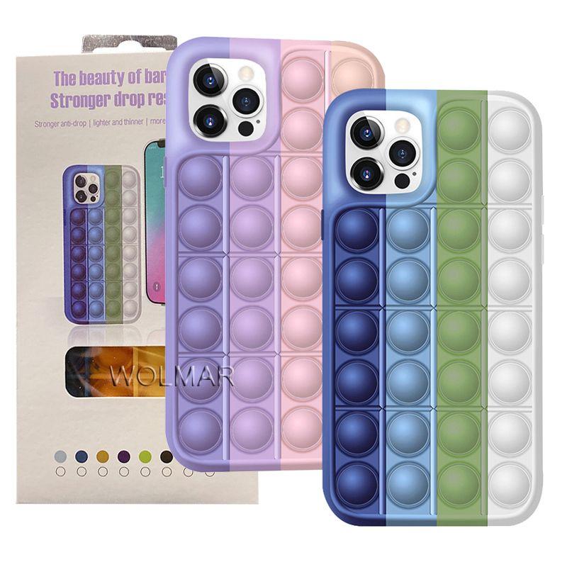 Pressione Bubble Fidget Boy Caso Descompactação Casos de telefone de silicone para iphone 13 12 11 Pro XS Max XR 7 8 Plus Reliver Stress Topo de Celular à prova de choque com pacote de varejo