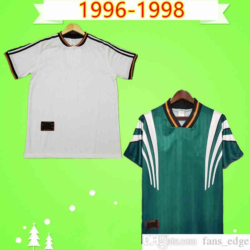 1996 1998 Retro Futbol Forması 96 98 Ev Beyaz Uzaktan Yeşil Klasik Antik Vintage Futbol Gömlek Üst Üniforma Bobic Kuntz Klinsmann Bierhoff Moller