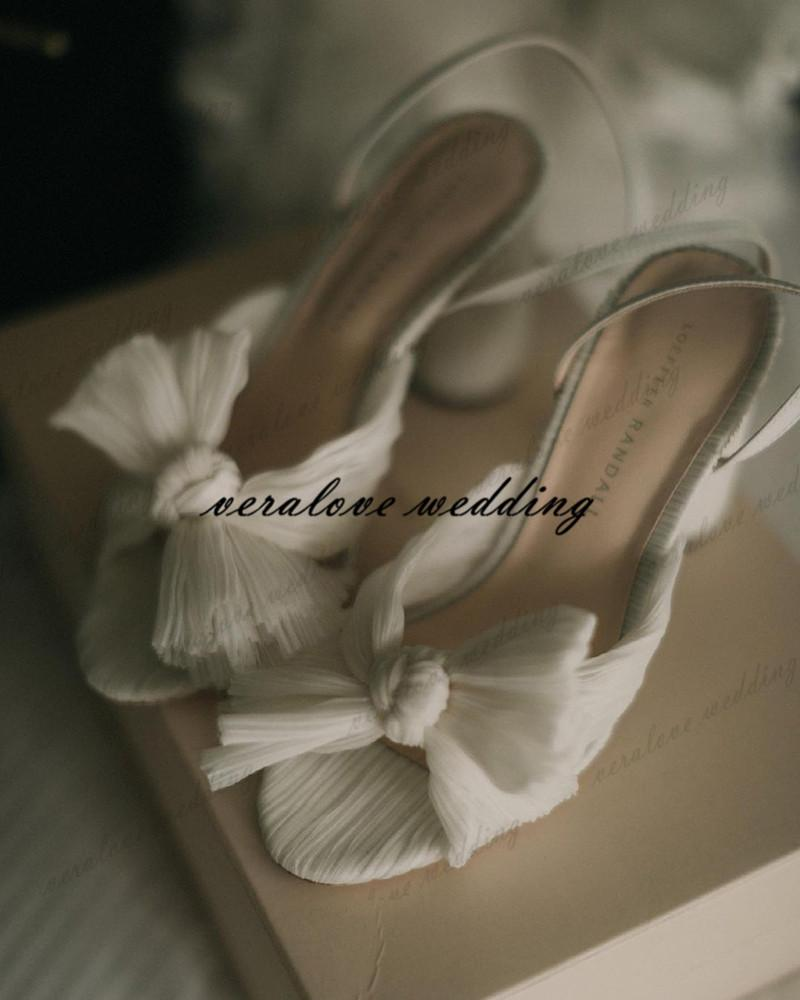 White Summer Beach Wedding Shoes Chunky High Heels 9.5cm Women Designer Sandals Party Wear Size 35-40