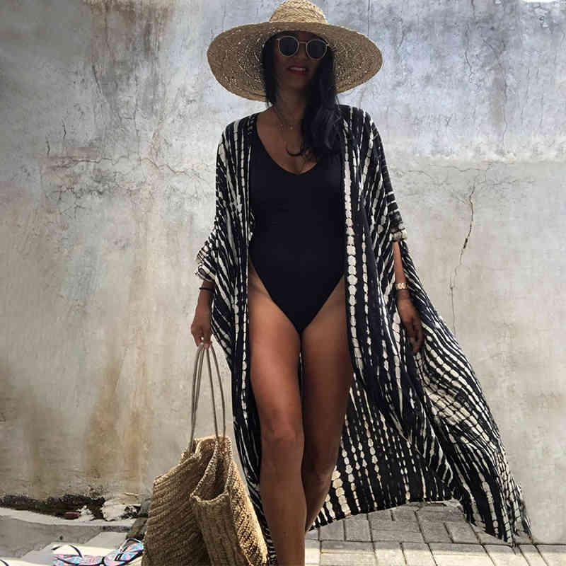 Casual Dress 2021 Bikini Cover UPS ZWARE Retro Gereepte Zelf Gürtelte Plus Größe Womensummer Kimono Jurk Beach Tragen Schwimmen Anzug Abdeckung q1225 0715