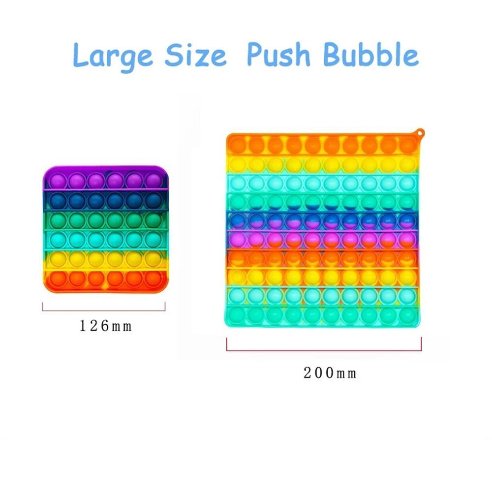 Grande taglia 20 cm grande arcobaleno spinta bolla giocattoli giocattoli oversize sensoriale stress stress reilliever giocattolo adulto bambini regali all'ingrosso