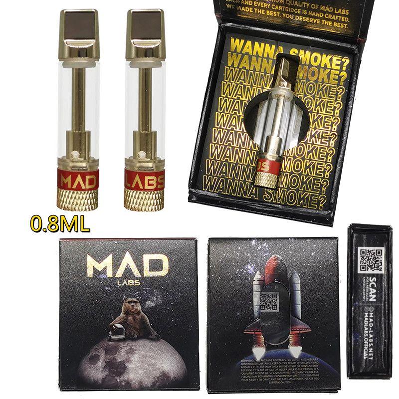 Atomizzatori Mad Labs Atomizer Vape Cartucce Imballaggio 0.8ml 510 Cartuccia di cartuccia ceramica Carrelli vuoti Olio denso DAB Pen penna vaporizzatore di cera vaporizzatore E sigarette 10 ceppi confezione magnetica