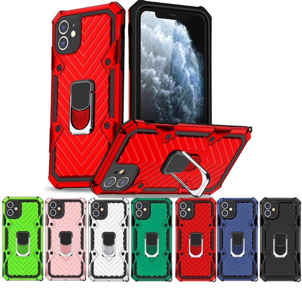 자동차 홀더 금속 핑거 링 브래킷 킥 스탠드 케이스 아이폰 12 11 xr xs max x 8 7 6 SEAMSUNG S10 S20 S21 Plus Shockproof 커버