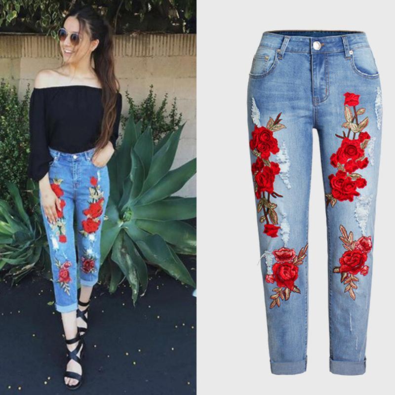 Moda Artı Boyutu Sıkı Kot Ile Yırtık Kot Orta Bel Nakış Çiçekler Vintage Kadın Denim Pantolon Kadınlar Için Pantolon Jean