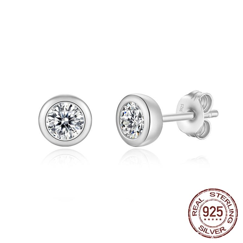 Plata 925 Stud para mujeres boda joyería fina ronda 3/4 / 5mm Zirconia Pendientes de diamante Regalo de niña E-044