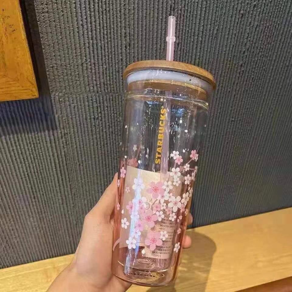 2021 أكواب ستاربكس الوردي ساكورا سعة كبيرة الزجاج المصاحب كوب مع القش