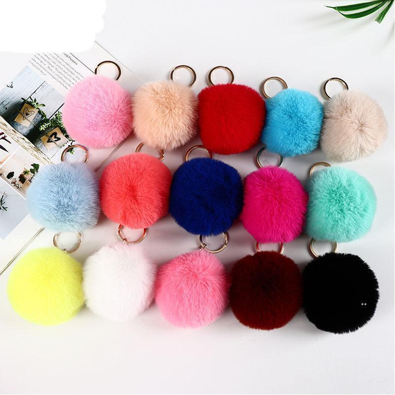 25 цветов 8 см кролика меховой мяч брелок помпом плюшевые шарики сумка ключ кольцо подвеска EWF8444