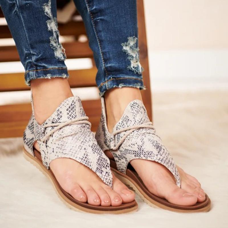 Mulheres verão sandálias planos sapatos mulher pu couro zapatos de mujer boémia casual sandalias sapato feminino zebra leopardo moda serpente fashionblade