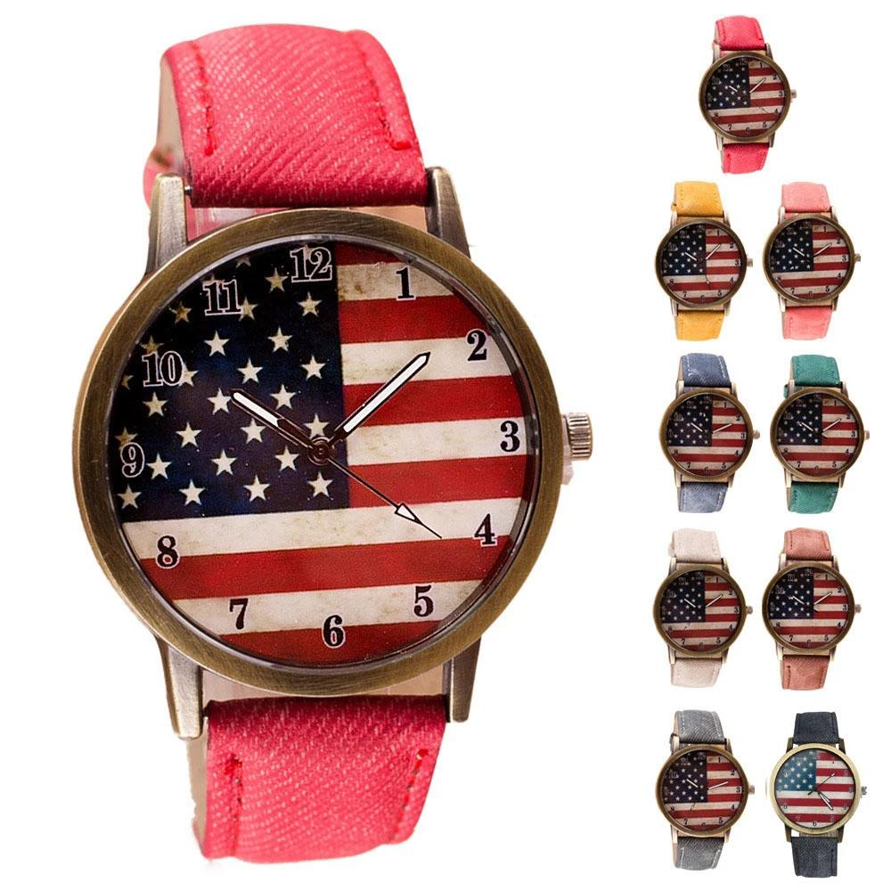 American Flag Unisex Mens Watches Party Favor Leather Band Analog Vogue Wrist Quartz Watch Luxury Watchs Wristwatches Gift