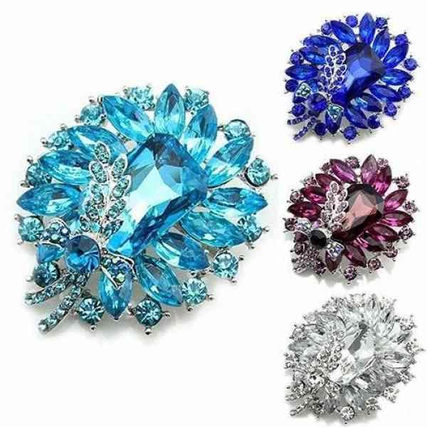 Горный хрусталь женский банкетный вечеринке кристалл протягивает голубой прозрачный бабочка булавка брошь K2C3 #