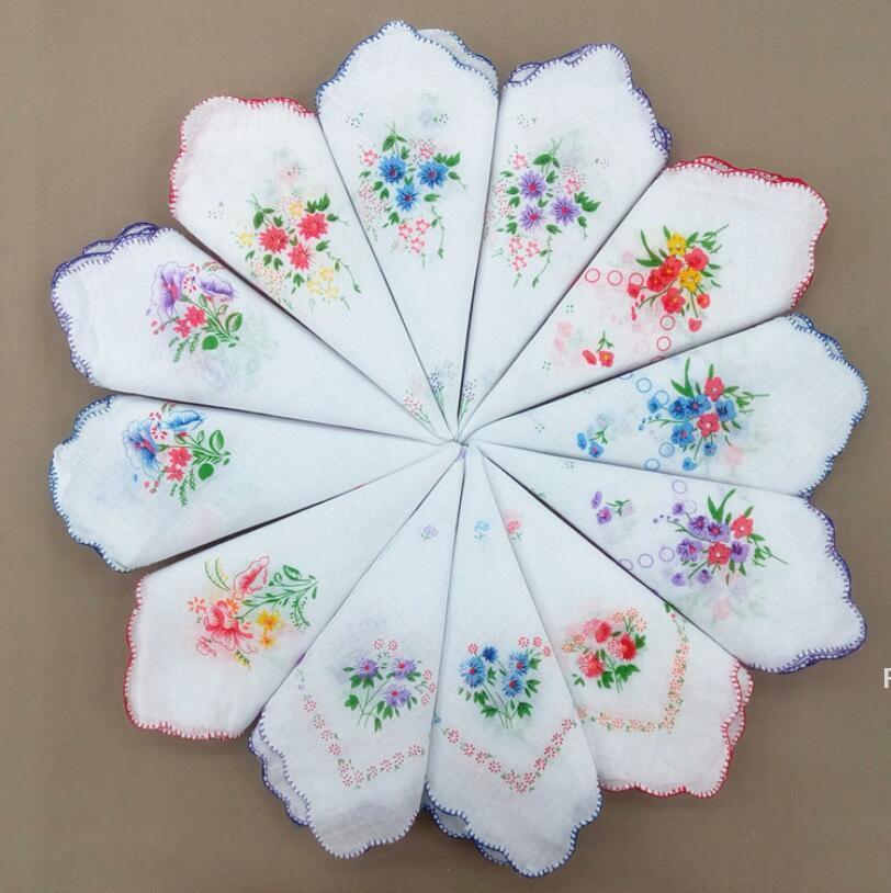 코튼 손수건 꽃 수 놓은 패션 여성 손수건 꽃 아가씨 hankies 미니 스퀘어 스카프 부티크 포켓 타월 HWA5337