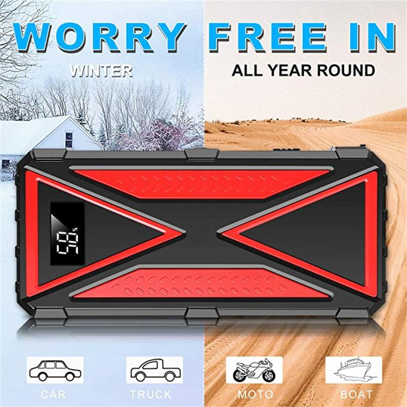 2021 2000A Peak 18000mAh 12Volt UltraSafe car battery jump starter Charger for 7L Gas, 6L Diesel,Portable USB Quick Charge Type-C Cables, LCD Screen, Flashlight