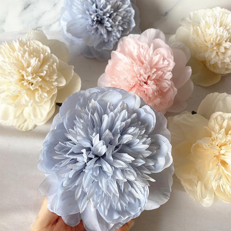 높은 품질의 모란 인공 꽃 머리 무료 줄기 실크 옷을 입은 웨딩 홈 정원 장식 장식 꽃 화환에 대 한 가짜