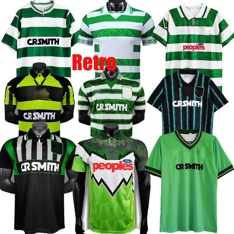 Retro 1980 1982 85 86 87 88 06 08 Celtic Fussball Jerseys 1991 1992 1998 1999 2000 Brattbakk Football Hemd Larsson Classic Vintage Sutton und 1995 1997 Schwarz Grüner Top