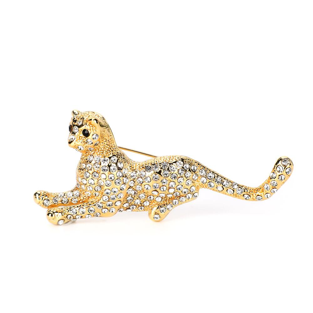 Varole New Arrival Brooch For Women Leopard shaped Crystal brooch unique 18K gold plated brooches