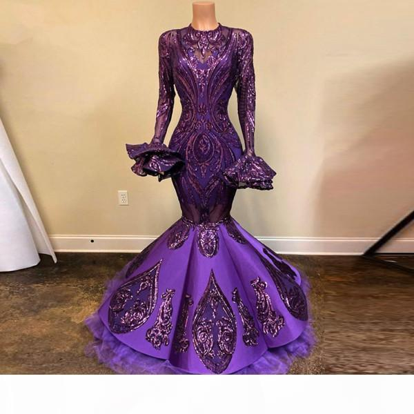 African Purple Sequined Lace Mermaid Prom Dresses With Flare Full Sleeves Real Image Long Evening Gowns Gonna Formal Dresses