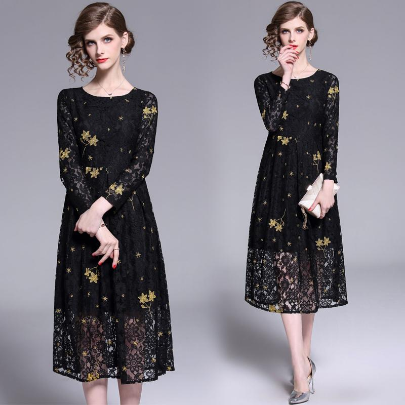 Quality Runway Black Lace Dress 2021 Designer Long Sleeve Crew Neck Holiday Prom Office Ladies Sexy Slim A-Line Pleated Dresses Summer Autumn Floral Women Clothes