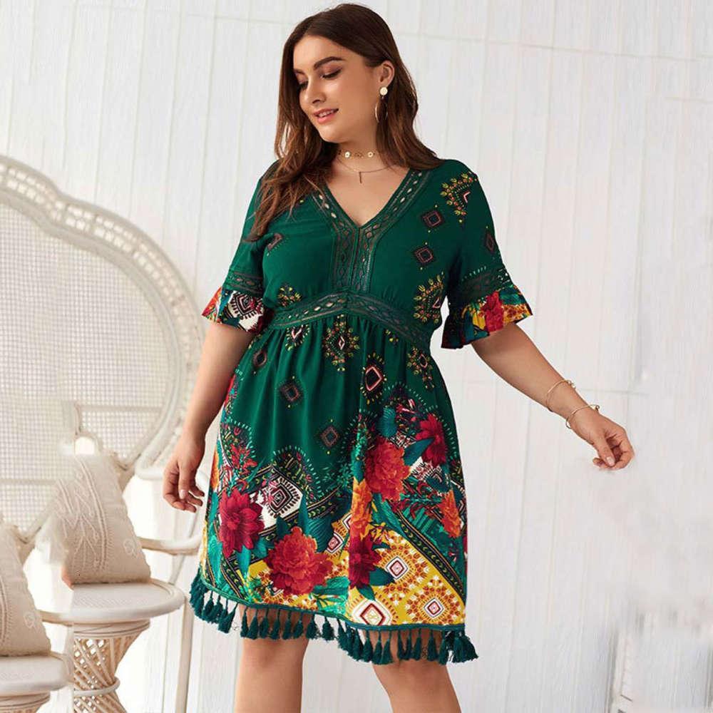 2020 verano grande tamaño grande una línea de impresión floral mujeres de gran tamaño longitud de rodilla vestido de vacaciones boho xxxl 4xl