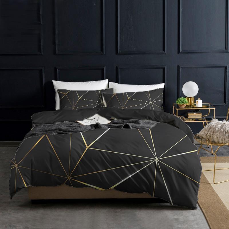 Bettwäsche Sets Black Gold Duvet Cover Set Morden Geometric King Queen Full Twin Size Bett 2/3 stücke Quilt 220x240 200x200