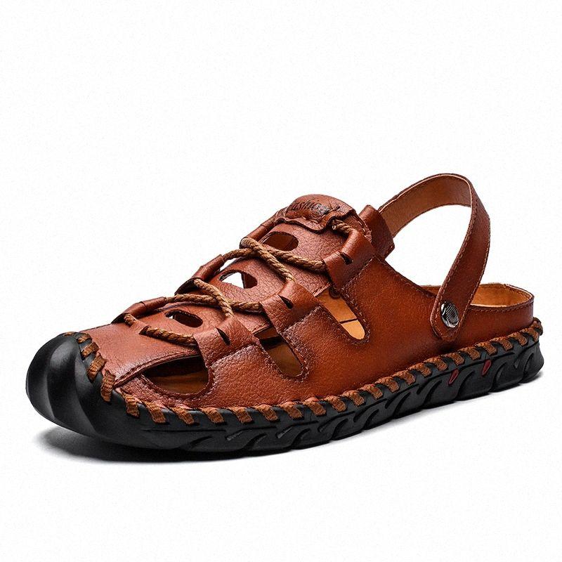 Erkekler Sandalet Erkekler Deri Klasik Roma Sandalet Terlik Açık Sneaker Yaz Plaj Kauçuk Çevirme Su Trekking Ayakkabı Gümüş Ayakkabı I0A0 #