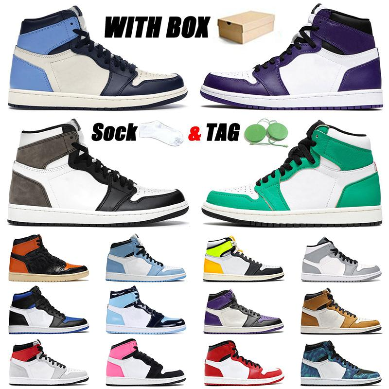 nike air jordan retro 1 2021 Varış Basketbol Ayakkabıları KUTU İLE 1 1s Jumpman Spor Obsidiyen UNC Patent Koyu Mocha Mahkemesi Mor Erkek Kadın Eğitmenler Sneakers EUR 46