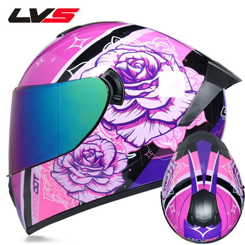 Casques de coques de moto à la moto avec double lentille élégant Shaged Riving Racing Dot approuvé