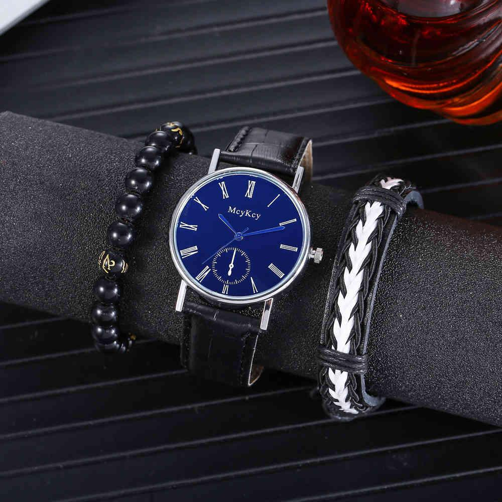 Wristwatches Creative Leisure Simple Fake Three Eye Business Belt Quartz Watch + Personalized Bracelet 2pcs / Set
