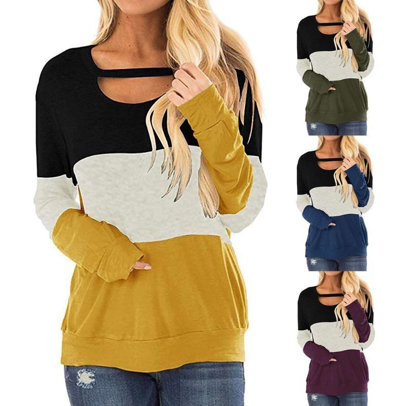 Women Chest Cutout Color Block Tunic Long Sleeve Shirt Blouse Tops 2021 Women's Blouses & Shirts