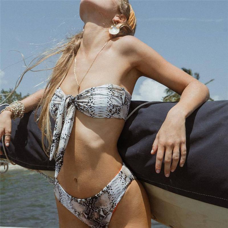 Hirigin 2021 Sexy Women Bandeau Bikini Snakeskin Push Up Swimsuit Knot Padded Swimwear Bathing Suit Swimming Beachwear Summer One-Piece Suit