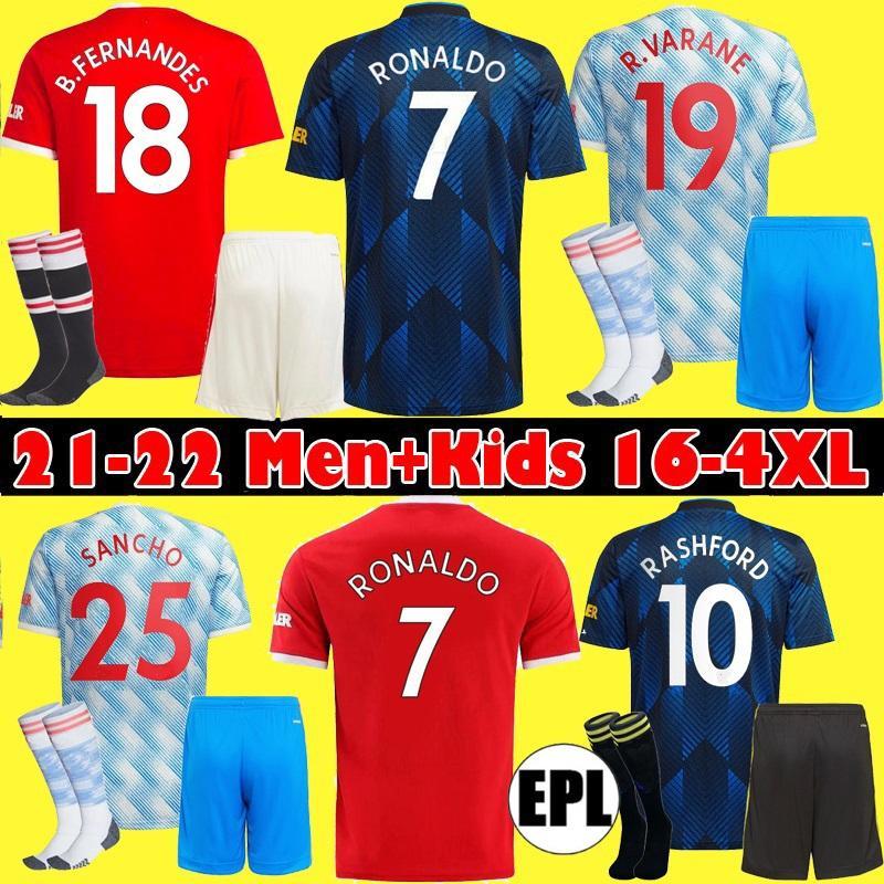 2021 2022 Man Soccer Jerseys Ronaldo Fernandes Rashford Pogba Utd Fans Giocatore Camicia da calcio 21 22 Sancho Varane Uniform Men + Kids S-4XL