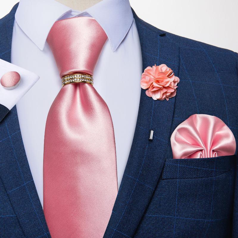 Yay Ties Tasarımcı Katı Pembe Mavi Erkekler Için Düğün Parti Boyun Kravat Lüks Yüzük Broş 100% Ipek Seti Hediye Damakgu