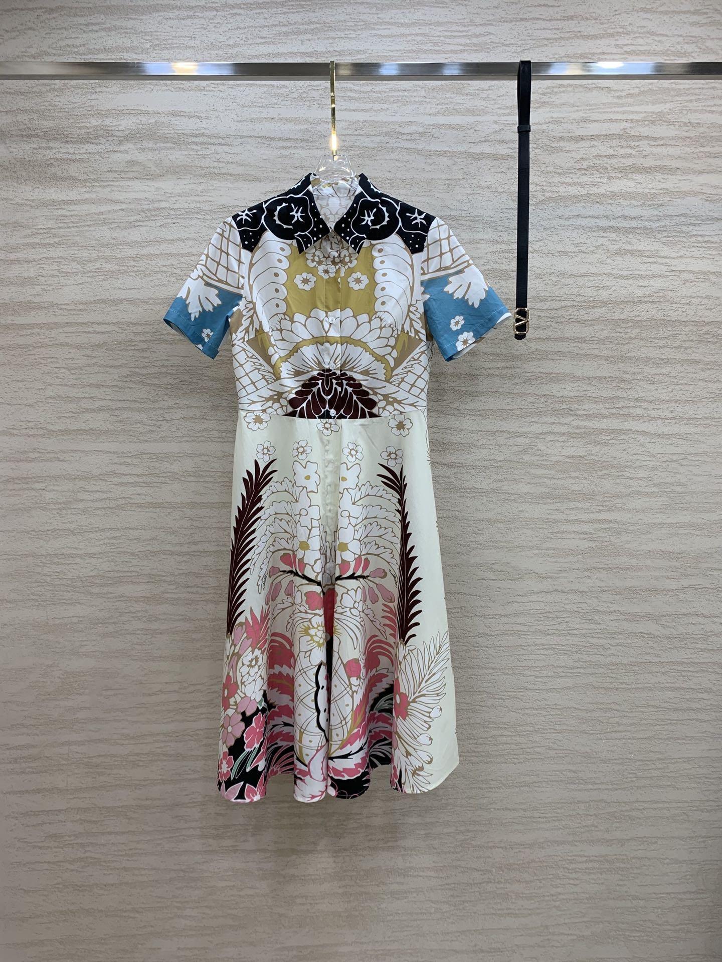 Milan pist elbiseler 2021 yaz yaka boyun kısa kollu baskı kadın tasarımcı elbise markası aynı stil giyim 0612-18