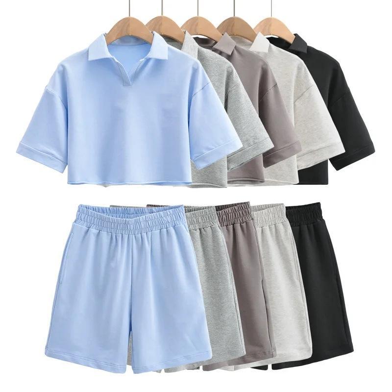 짧은 소매 티셔츠 + 반바지 Tracksuits 여성 2021 여름 2 조각 세트 높은 허리 넓은 다리 정장 ins 패션 의류 spodenki damskie