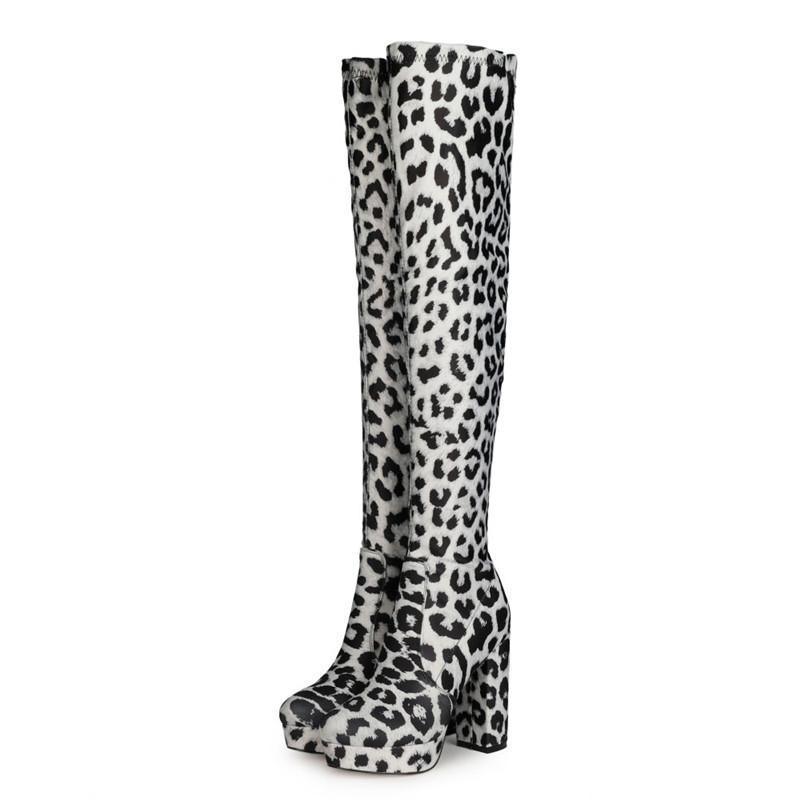 Bottes Ohichiic léopard Imprimé sur la mode du genou pointu Toe Toe Chunky High talon chaussures