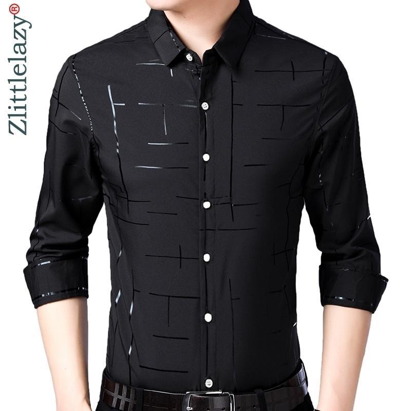 Marka Rahat Ekose Lüks Artı Boyutu Uzun Kollu Slim Fit Erkekler Gömlek Bahar Sosyal Elbise Gömlek Erkek Modası Forması Jersey 41607 210410