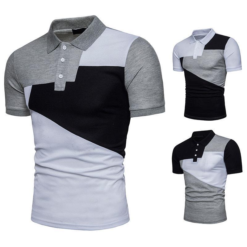 Тонкий Fit Футболка Мода Большой Сращивание Цвет Сопоставляющее с короткими рукавами Рубашка Поло Молодежная футболка Летние Мужчины
