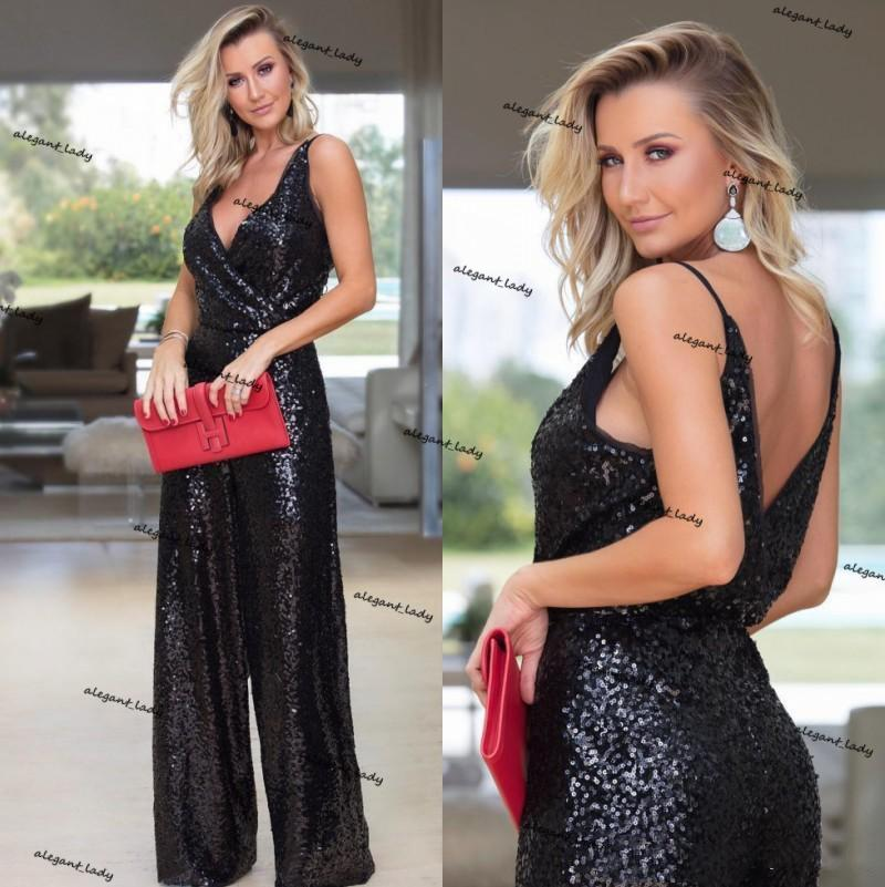 Black Sequined Jumpsuits Evening Dresses Deep V Neck Backless Bridesmaid Dress Plus Size Formal Pageant Gowns Party Prom suit