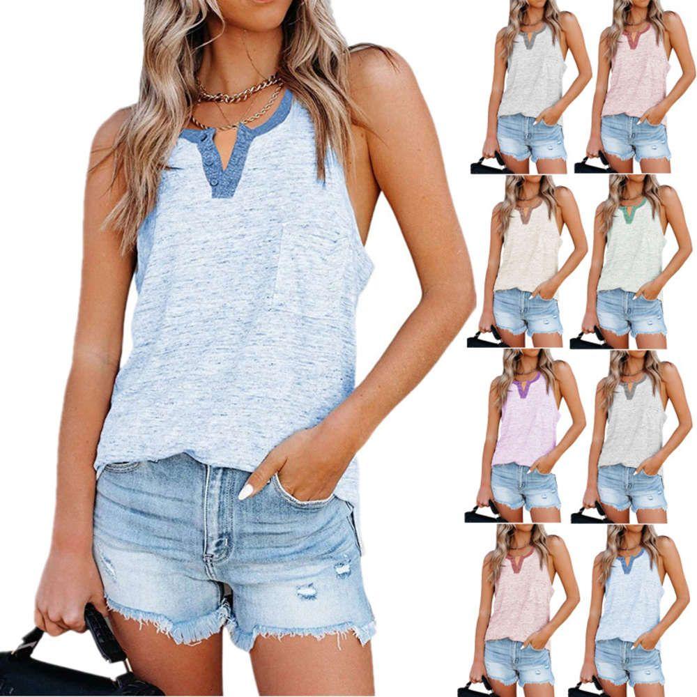 T-shirt da donna a bottone tascabile stampato casual da donna per le donne