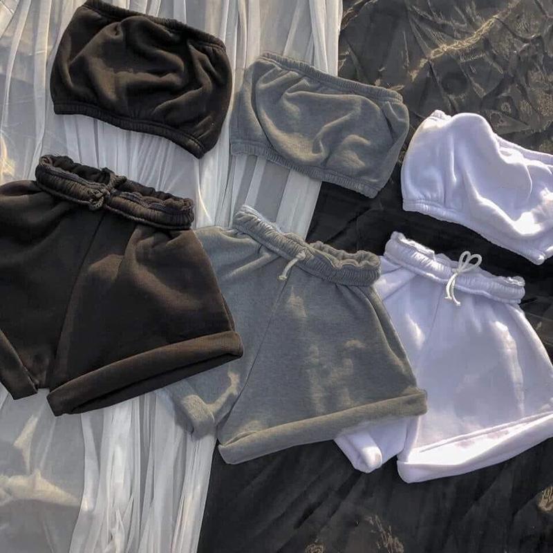 Lässige Frauen Trainingsanzug Zwei Teile Set Trägerlosen Pflanze Tank Top + Kurze Hosen Solide Farbe Sportsuit Sommerkleidung Für Frauen Outfit 210506