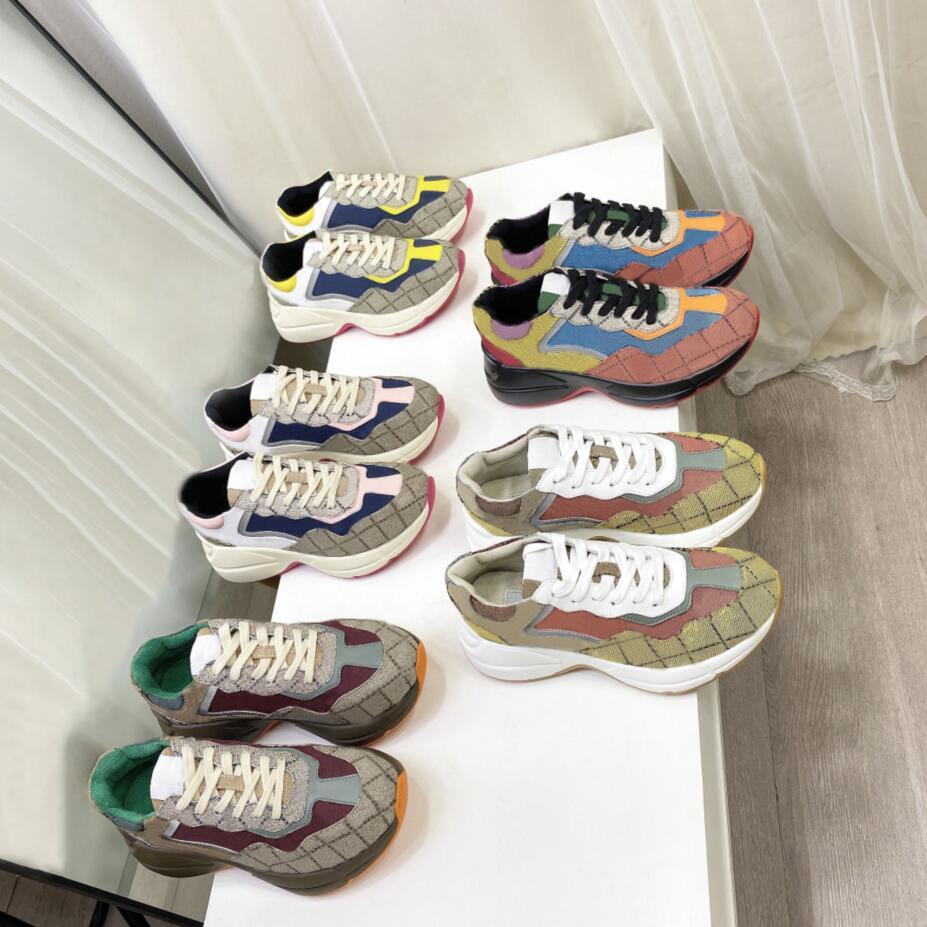 Lüks Marka Tasarımcısı Ayakkabı Rhyton Sneakers Bej Erkekler Kadınlar Ayakkabı Eğitmenler Vintage Chaussures Bayanlar Klasik Moda Tasarımcılar Kutusu Boyutu ile Sinsi 35-46