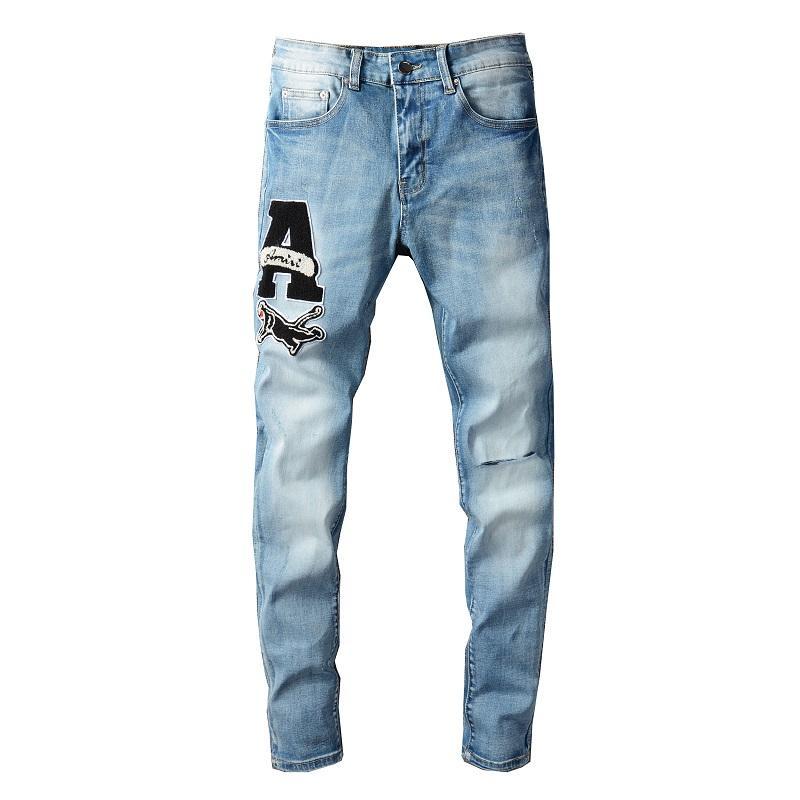 Мотоцикл моды мотоцикл синий джинсовый Тришер плюс тонкий подходящий растягиваю джинсовые разорванные мужские широкие ноги свободные джинсовые парень брюки