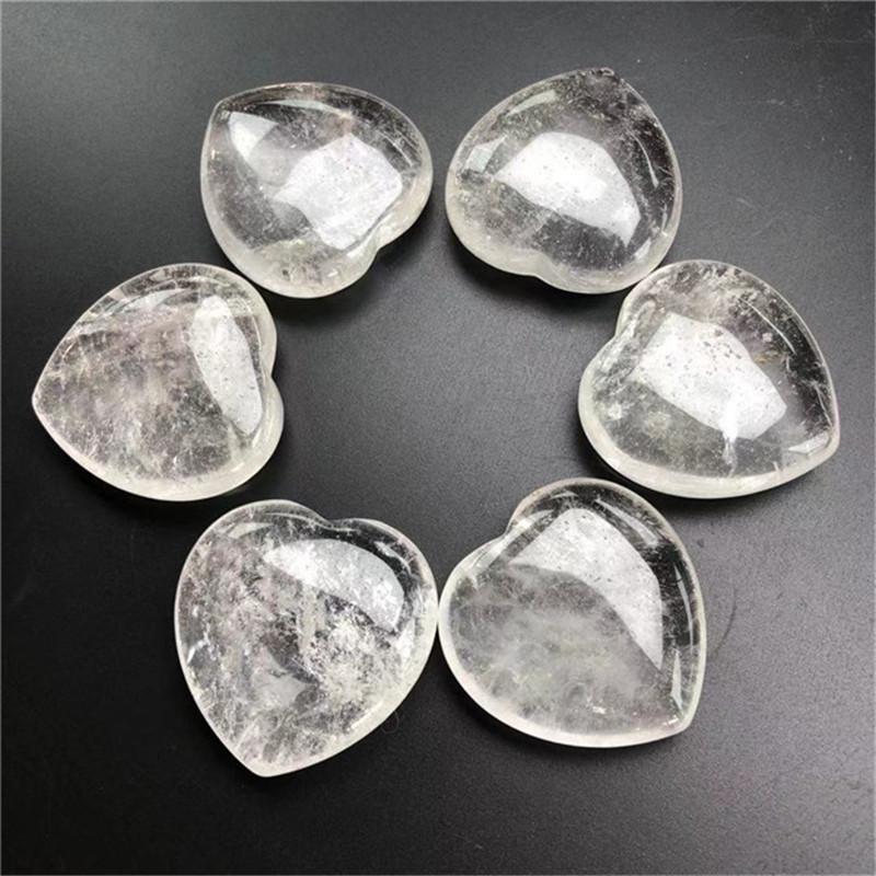 Dekorative Objekte Figuren Kristall Klar Quarz Palm Stein Natürliche Edelsteine Heilliebe Liebe Form Steine Edelstein Sorgen Herz