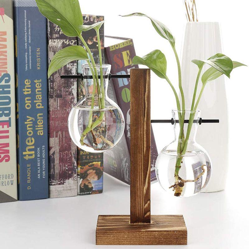المزهريات المائية النباتية الزجاج الغراس المصباح تررم مع الرجعية إطار خشبي حامل للمنزل حديقة مكتب الزفاف الديكور الزراعة المائية الطاولة النباتات