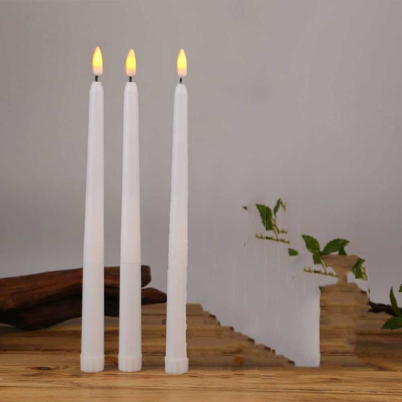 Pieces Flickering Yellow/Warm White LED Birthday Candles,Long Thin Plastic Battery Not Included Candles