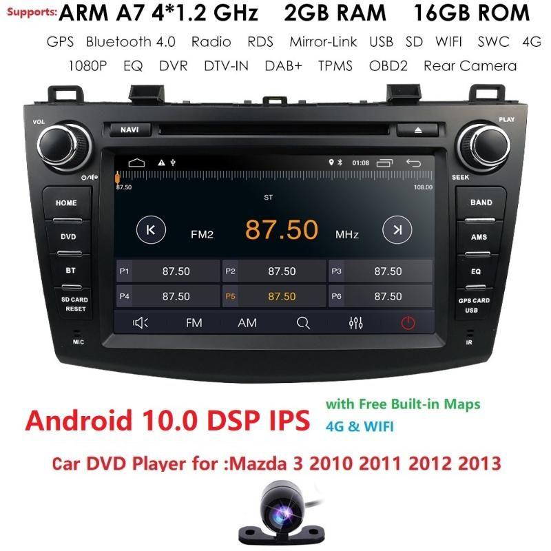 Giocatore Android10 8 pollice in Dash Head Unità Doppia Din Car DVD GPS Navigazione Stereo Radio Canbus per 3 2010 2011 2012 2013